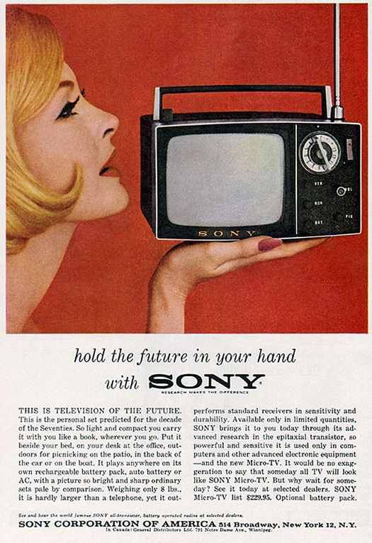 Sony Micro TV Advertisement in Playboy Magazine Holiday Issue 1962