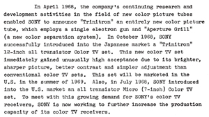 Sony Annual Report October 31, 1968