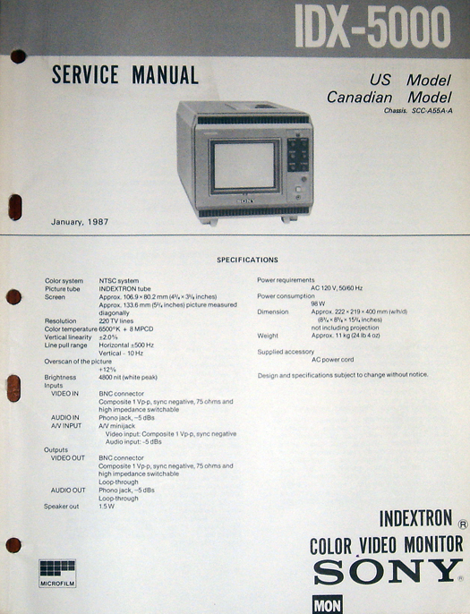 Sony IDX-5000 Owners Manual photographed November, 2010