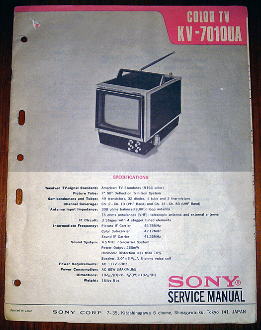 Sony KV 7010UA Service Manual photographed May 30, 2011